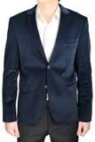 Velvet blazer wedding groom suit jacket, navy blue, on white. Stock Image