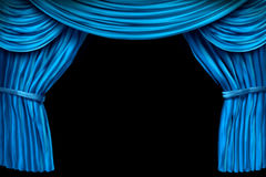 Velvet blue curtain frame Royalty Free Stock Photo