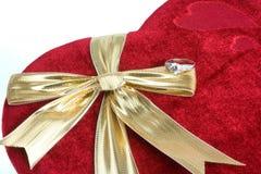 Velvet box and ring. Red velvet box and diamond ring stock image