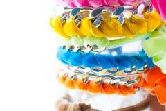 Velvet and chain bracelets Royalty Free Stock Photography