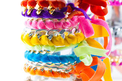 Velvet and chain bracelets Royalty Free Stock Photos