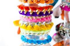 Velvet and chain bracelets Stock Image