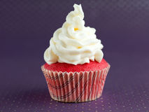 Velvet cupcake with white frosting Stock Photos