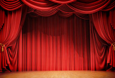 Velvet curtains. And wooden stage floor Royalty Free Stock Image
