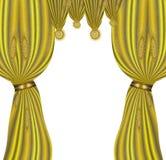 Velvet folded gold drapery with glittering stars Royalty Free Stock Images