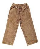 Velvet pants. Children's wear - velvet pants isolated over white background (rear view Royalty Free Stock Photos