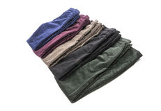 Velvet Pants of Assorted Colors Isolated on White #1 Stock Image