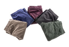 Velvet Pants of Assorted Colors Isolated on White #2 Stock Photography