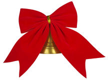 Velvet red bow with bell Stock Photos