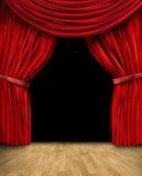 Velvet red curtain frame. On black background stock illustration