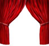 Velvet red curtain frame. On white background stock illustration