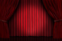 Velvet red curtain frame Royalty Free Stock Image