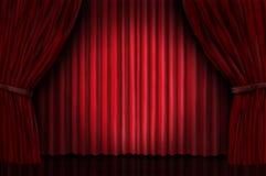 Velvet red curtain frame. On dark drapes background stock illustration