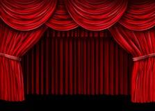 Velvet red curtain frame. On black background vector illustration