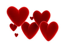 Velvet red hearts. Isolated on white background Stock Images