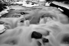 Velvet river. River at winter, rapid, whitewater black and white b&w snow rocks blur Royalty Free Stock Photography