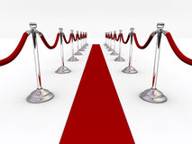 Velvet rope. A red carpet and velvet rope  - 3d render Royalty Free Stock Photo