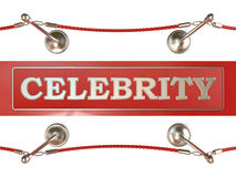 Velvet rope barrier and red carpet, with CELEBRITY sign Royalty Free Stock Image