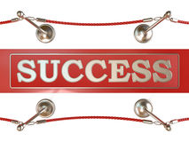 Velvet rope barrier and red carpet, with SUCCESS sign Stock Image