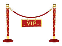 A velvet rope barrier, with a vip sign. Isolated on white background Stock Photo