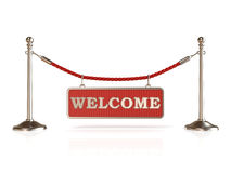 Velvet rope barrier, with WELCOME sign Stock Images