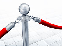 Velvet rope and stand. Illustration of velvet rope and stand close up Royalty Free Stock Image