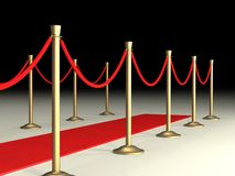 Velvet Ropes and Red Carpet Stock Images