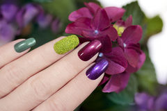 Velvet sand. Nail designs with colored sand and dark pearlescent varnishes artificial nails royalty free stock photo