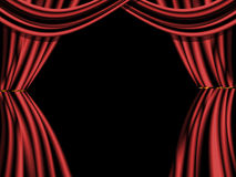 Velvet Stage Curtain. A Rolled Stage Curtain, for stage entertainment Royalty Free Stock Photo