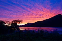 Velvet Sunset with Hills Royalty Free Stock Photography