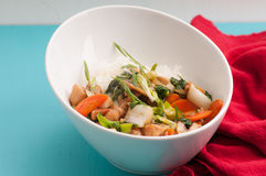 Velveted chicken stirfry with rice Stock Image