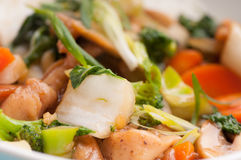 Velveted chicken stirfry with rice Stock Photo