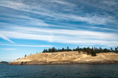 Velvety hills of an island. In Puget sound Stock Photos