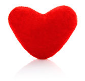 Velvety toy heart. On white background Royalty Free Stock Images