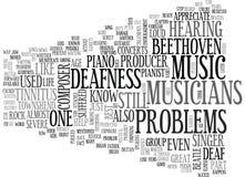 Vem bland de berömda musikerna har det dövhetProblemsword molnet Royaltyfri Foto