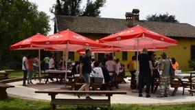 Venaria, Piamonte, Italia, mayo de 2018 La gente disfruta de un almuerzo del verano almacen de metraje de vídeo