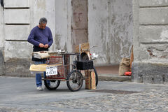 Venaria Reale, Ιταλία - γυρολόγος των κάστανων στοκ εικόνες