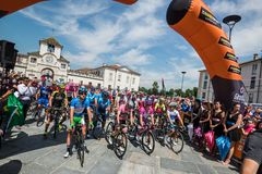 Venaria Reale, Italy May 25, 2018: Professional Cyclists  start the last hard montain stage of the Tour of Italy 2018. From Venaria Reale and arrival uphill in royalty free stock photos