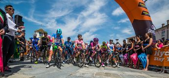 Venaria Reale, Italy May 25, 2018: Professional Cyclists  start the last hard montain stage of the Tour of Italy 2018. From Venaria Reale and arrival uphill in royalty free stock image
