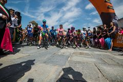 Venaria Reale, Italy May 25, 2018: Professional Cyclists  start the last hard montain stage of the Tour of Italy 2018. From Venaria Reale and arrival uphill in stock photo