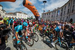 Venaria Reale, Italy May 25, 2018: Professional Cyclists  start the last hard montain stage of the Tour of Italy 2018. From Venaria Reale and arrival uphill in royalty free stock photo