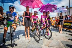 Venaria Reale, Italy May 25, 2018: Professional Cyclists  start the last hard montain stage of the Tour of Italy 2018. From Venaria Reale and arrival uphill in royalty free stock images