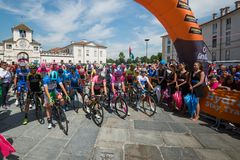 Venaria Reale, Italy May 25, 2018: Professional Cyclists  start the last hard montain stage of the Tour of Italy 2018. From Venaria Reale and arrival uphill in stock images