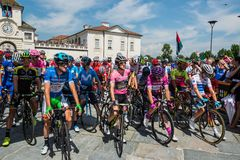 Venaria Reale, Italy May 25, 2018: Professional Cyclists  start the last hard montain stage of the Tour of Italy 2018. From Venaria Reale and arrival uphill in stock photos