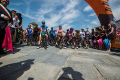 Venaria Reale, Italy May 25, 2018: Professional Cyclists  start the last hard montain stage of the Tour of Italy 2018. From Venaria Reale and arrival uphill in stock image
