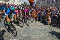 Venaria Reale, Italy May 25, 2018: Professional Cyclists  start the last hard montain stage of the Tour of Italy 2018. From Venaria Reale and arrival uphill in royalty free stock photography
