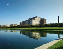 Venaria Reale - the palace of Savoia in sunset. Reggia Venaria Reale, near turin, reflect the palace in the lake in garden Stock Photography