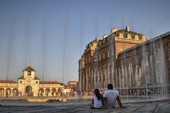 Venaria Reale, Piedmont region, Italy. June 2017. The Cervo fountain royalty free stock photo