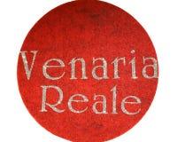 Venaria Reale som är skriftlig av en italiensk stad med, blänker stilsorten Arkivbild