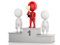 vencedor 3d que comemora no pódio com troféu Imagens de Stock Royalty Free